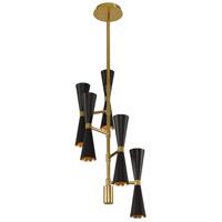 Kalco 310472BVB Milo LED 10 inch Black and Vintage Brass Chandelier Ceiling Light