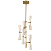 Kalco 310472WVB Milo LED 10 inch White and Vintage Brass Chandelier Ceiling Light