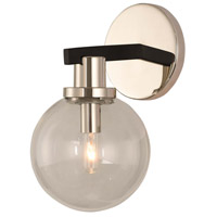 Kalco 315421BPN Cameo 1 Light 6 inch Matte Black Finish/Nickel Accents Wall Sconce Wall Light in Matte Black with Nickel Accents