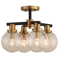 Cameo 4 Light 16 inch Matte Black Finish with Brushed Pearlized Brass Semi Flush Mount Ceiling Light