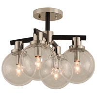 Cameo 4 Light 16 inch Matte Black Finish with Nickel Accents Semi Flush Mount Ceiling Light