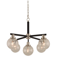 Kalco 315451BPN Cameo 5 Light 28 inch Matte Black Finish/Nickel Accents Pendant Ceiling Light in Matte Black with Nickel Accents