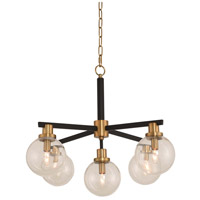 Cameo 5 Light 28 inch Matte Black Finish with Brushed Pearlized Brass Pendant Ceiling Light
