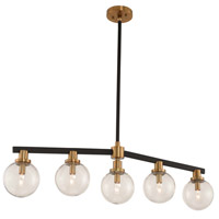 Kalco 315452BBB Cameo 5 Light 40 inch Matte Black Finish with Brushed Pearlized Brass Island Light Ceiling Light in Matte Black with Brushed Pearlized Brass