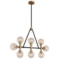 Kalco 315453BBB Cameo 8 Light 42 inch Matte Black Finish with Brushed Pearlized Brass Island Light Ceiling Light in Matte Black with Brushed Pearlized Brass