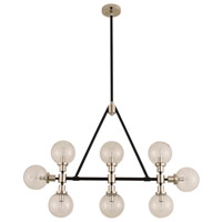 Kalco 315453BPN Cameo 8 Light 42 inch Matte Black Finish With Nickel Accents Island Light Ceiling Light in Matte Black with Nickel Accents