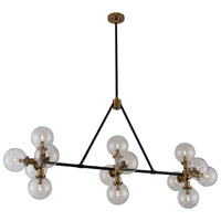 Cameo 14 Light 60 inch Matte Black Finish with Brushed Pearlized Brass Island Light Ceiling Light