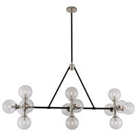 Kalco 315454BPN Cameo 14 Light 60 inch Matte Black Finish With Nickel Accents Island Light Ceiling Light