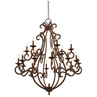 Kalco 3163CI/8045 Santa Barbara 18 Light 44 inch Country Iron Chandelier Ceiling Light