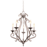 Kalco 3166PS Santa Barbara 5 Light 22 inch Pearl Silver Chandelier Ceiling Light