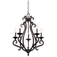 Kalco 3166CI/8030 Santa Barbara 5 Light 22 inch Country Iron Chandelier Ceiling Light