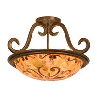 Kalco Santa Barbara 3 Light Semi Flush Mount in Tortoise Shell 3172TO/PS121