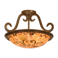 Santa Barbara 3 Light 19 inch Tortoise Shell Semi Flush Mount Ceiling Light in Victorian Penshell (PS121)