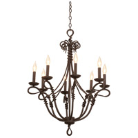 Vine 8 Light 27 inch Bark Chandelier Ceiling Light in Without Shade, Without Glass