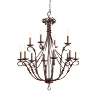 Vine 12 Light 28 inch Bark Chandelier Ceiling Light in Without Shade, Without Glass