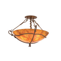 Vine 3 Light 18 inch Bark Semi Flush Mount Ceiling Light in Buddha Leaf (NS101)