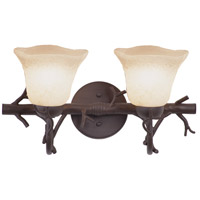 Kalco 3522BA/1255 Vine 2 Light 18 inch Bark Bath Light Wall Light in Small Piastra (1255)