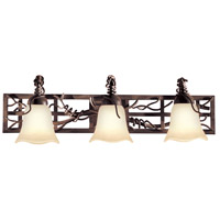 Kalco 3563BA/1255 Vine On Lattice 3 Light 28 inch Bark Bath Light Wall Light in Small Piastra (1255)