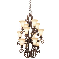 Kalco 4039CI/PS02 Ibiza 12 Light 29 inch Country Iron Foyer Ceiling Light