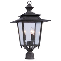 Saddlebrook Outdoor 3 Light Aged Iron Post Mount