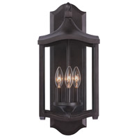 Kalco 404521AI Lakewood Outdoor 3 Light 9 inch Aged Iron Wall Sconce Wall Light