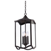 Kalco 404550AI Lakewood Outdoor 4 Light 11 inch Aged Iron Hanging Lantern Ceiling Light