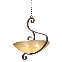 Kalco 4065CI/IRSH G-cleft 3 Light 21 inch Country Iron Pendant Ceiling Light
