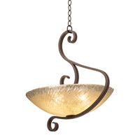 Kalco 4066CI/ART G-cleft 5 Light 25 inch Country Iron Pendant Ceiling Light
