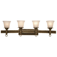 Americana 4 Light 41 inch Antique Copper Bath Light Wall Light in White Alabaster (1219)