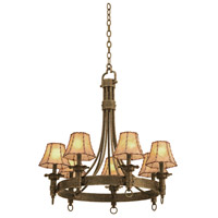 Kalco 4207AC/8045 Americana 7 Light 30 inch Bellagio Chandelier Ceiling Light in Antique Copper Without Glass Leather-wrapped