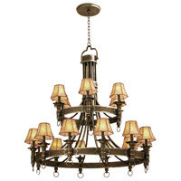 Americana 18 Light 47 inch Antique Copper Chandelier Ceiling Light in Without Glass, Leather-wrapped