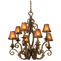 Ibiza 8 Light 30 inch Tortoise Shell Chandelier Ceiling Light in Antique Copper, Without Glass, Mica (S205)