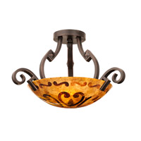 Ibiza 3 Light 23 inch Antique Copper Semi Flush Mount Ceiling Light in Victorian Penshell (PS121)