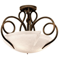 Tribecca 3 Light 21 inch Escalante Semi Flush Ceiling Light in Bowl glass,  16