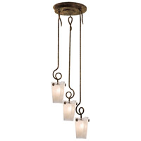 Kalco 4302AC/FROST Tribecca 3 Light 24 inch Antique Copper Pendant Ceiling Light in Frost (FROST)