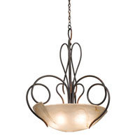 Kalco 4306CI/FROST Tribecca 5 Light 34 inch Country Iron Pendant Ceiling Light