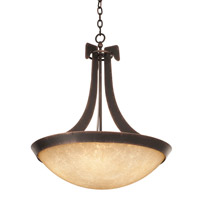 Kalco 4349AC/G3375 Copenhagen 6 Light 45 inch Antique Copper Pendant Ceiling Light in Ecru (G3375)