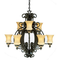Kalco Lighting Hamilton 9 Light Chandelier in Havana 4439HV