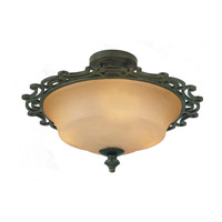 Hamilton 3 Light 18 inch Havana Semi Flush Ceiling Light in Without Glass