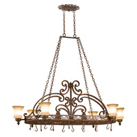 Hamilton 6 Light 60 inch Copper Claret Pot Rack Ceiling Light in Without Glass, Tuscan Sun