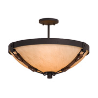 Kalco 4645B/G3108 Rodeo Drive 3 Light 21 inch Antique Copper Semi Flush Mount Ceiling Light in Gold-Streaked Amber (G3108), Black