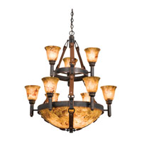 Kalco Lighting Rodeo Drive 14 Light Chandelier in Antique Copper 4649AC/PS103/PS11