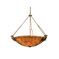 Grande 6 Light 45 inch Antique Copper Pendant Ceiling Light in Iridescent Shell (NS115)