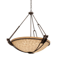 Kalco 4846AC/G3113 Grande 5 Light 29 inch Antique Copper Pendant Ceiling Light in Ecru (G3113)