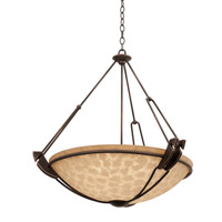 Kalco 4847AC/G3114 Grande 6 Light 35 inch Antique Copper Pendant Ceiling Light in Ecru (G3114)