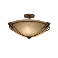 Grande 3 Light 22 inch Antique Copper Semi Flush Mount Ceiling Light in Ecru (G3132)