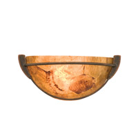 Grande 1 Light 15 inch Antique Copper ADA Wall Sconce Wall Light in Penshell Half Round Sconce (PS06)