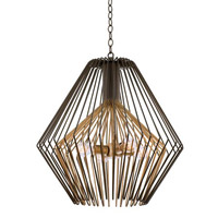 Metro I 4 Light 24 inch Antique Bronze with Antique Gold Accents Pendant Ceiling Light