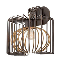Metro III 1 Light 12 inch Antique Bronze with Antique Gold Accents Wall Bracket Wall Light