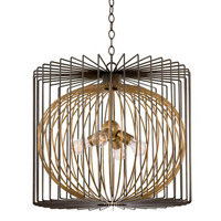 Metro III 4 Light 24 inch Antique Bronze with Antique Gold Accents Pendant Ceiling Light